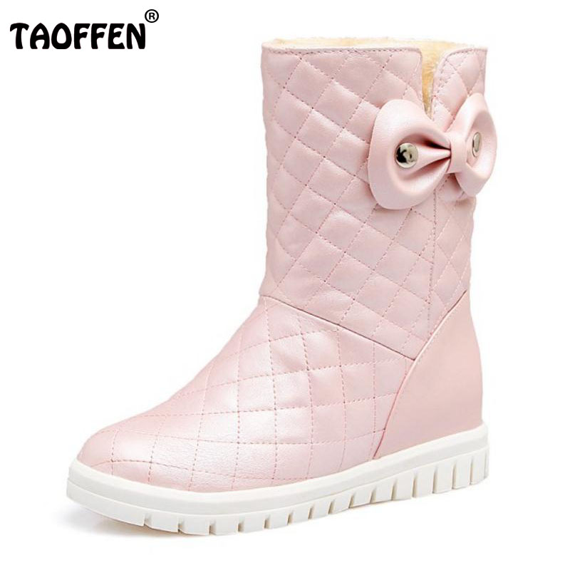 TAOFFEN Size 31-43 Lady Sweety Winter Shoes Women Warm Fur Inside Mid Calf Snow Boots For Women Bowknot Height Increasing Botas taoffen size 30 52 russia women round toe height increasing mid calf boots woman cross strap warm fur winter half shoes footwear