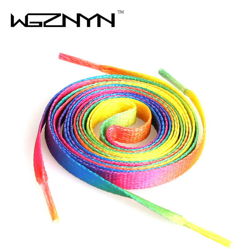 Hot sell 110cm 43inch Rainbow Multi-Colors Flat Shoe Laces Shoelaces Strings Strap for Canvas Shoes rainbow shoelace