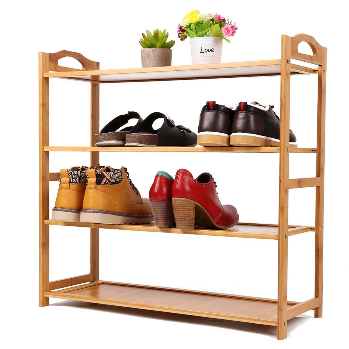 4 couches bambou bois armoires à chaussures universel Rack de stockage étagère à chaussures organisateur de stockage plante Stand maison stockage étagère organisateur