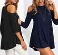 Три Четверти С Плеча свободные повседневная блузка твердые мода топы женская одежда