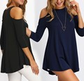 Three Quarter Off Shoulder loose casual blouse solid fashion tops women's clothes