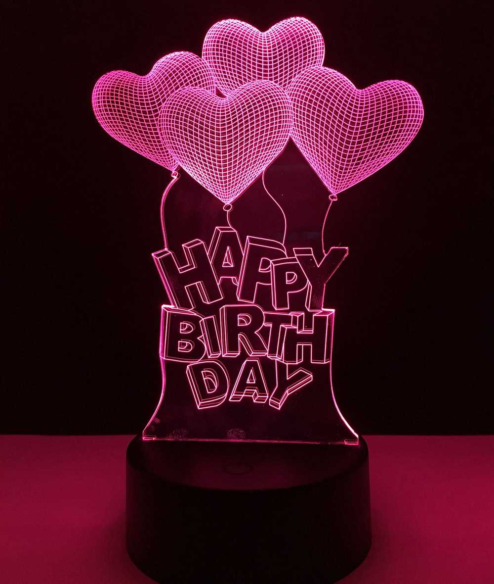 Happy Birthday Love Heart Balloons Colorful LED Night Light Child friend lover birthday gift 3D Visual Bulb Optical Illusion Col