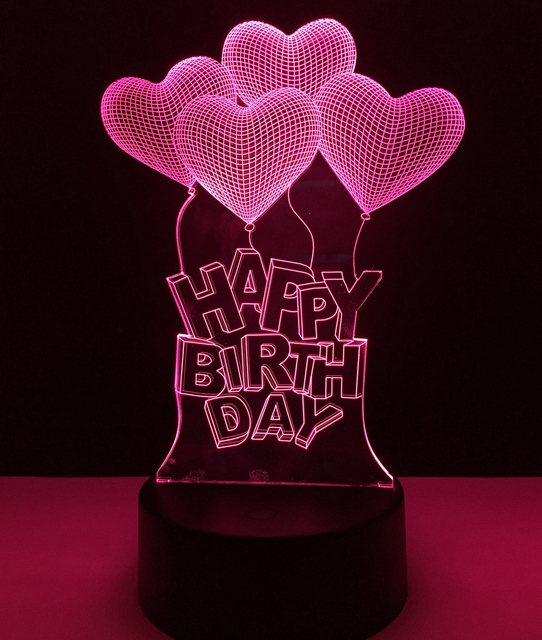 Happy Birthday Love Heart Balloons Colorful LED Night Light Child Friend Lover Gift 3D Visual