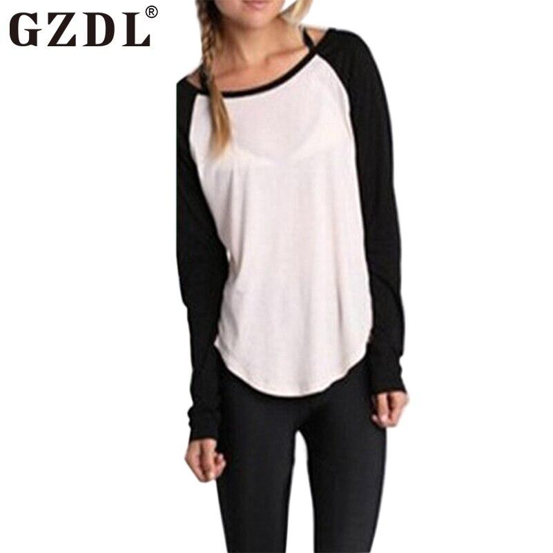 GZDL Casual Shirt Women Long Sleeve Crew Neck Solid Plain Tee ...