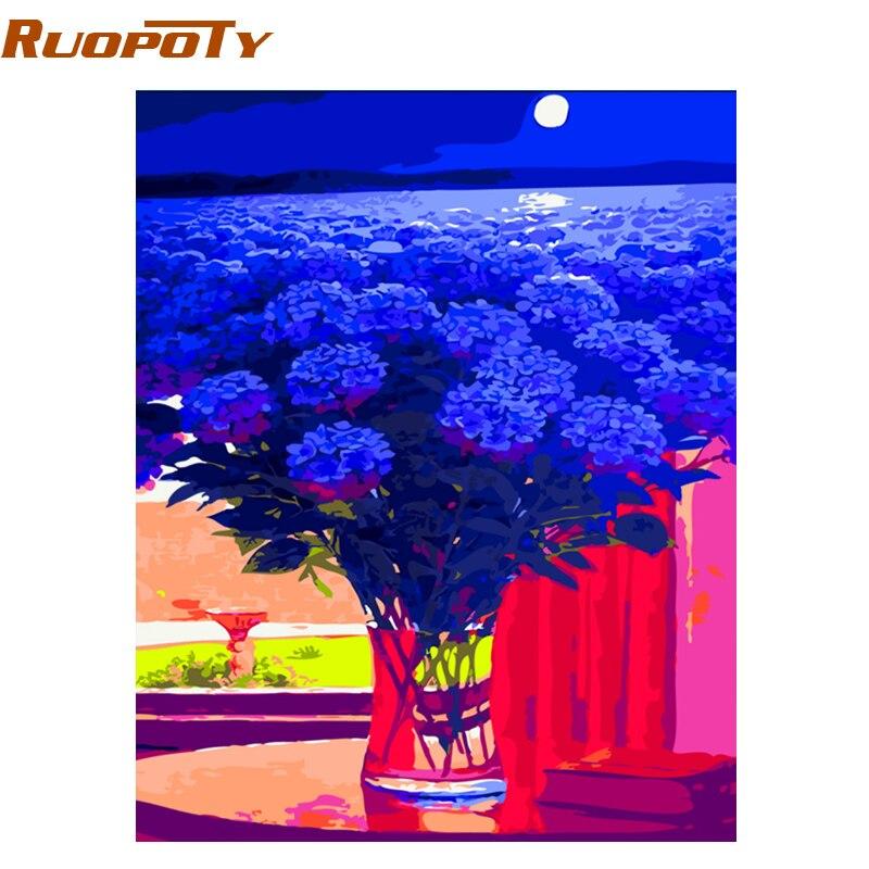 RUOPOTY Fiore Blu Mare Astratta Pittura di Diy Dai Numeri Dipinto A Mano Olio Su Tela Home Decor Per Soggiorno Opere D'arte