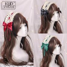 Vintage Japanese Sweet Lolita Lace Crossover Strap Bow Headwear Maid Hair Band Girls Daily Accessories Headbands 8446