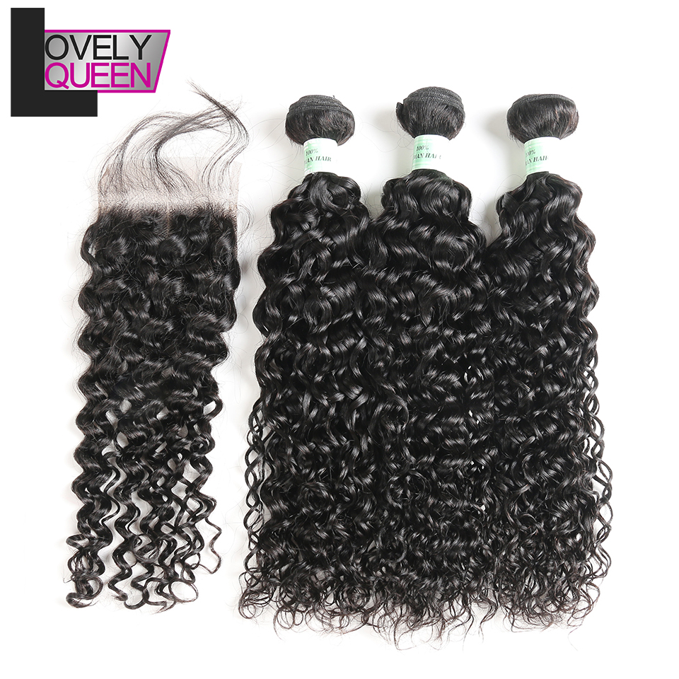 Lovely Queen Hair 3 Peruvian Hair Bundles With Closure Water Wave Bundles With Closure Non Remy Hair Real Shot Natural Black