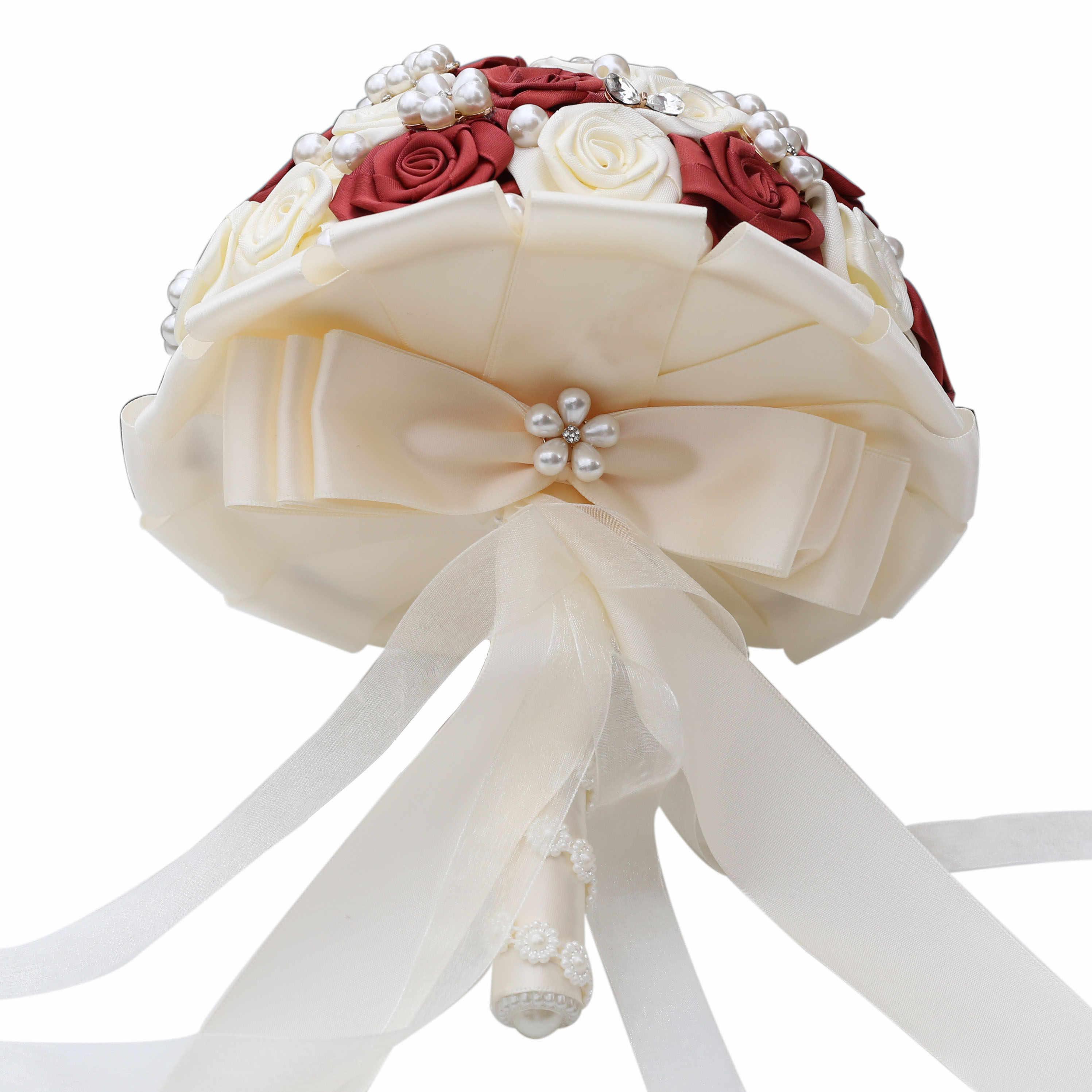 21 Cm Disesuaikan Buatan Mutiara Kristal Pernikahan Karangan Bunga Bridesmaid Tangan Memegang Bunga Sutra Pita Pengantin Pernikahan Bouquet W128