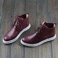 Preto/Vermelho Genuínos Ankle Boots de Couro Para As Mulheres Apontou Toe Rendas até Sapatos Baixos Casuais Senhoras Da Moda Botas de Cano Alto qualidade (w8001)