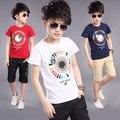 2016 Nova Venda Quente de Verão Crianças Meninos Camiseta Shorts Set crianças Meninos Camisa de Manga Curta Conjunto de Roupas Crianças Menino Terno Do Esporte Outfit