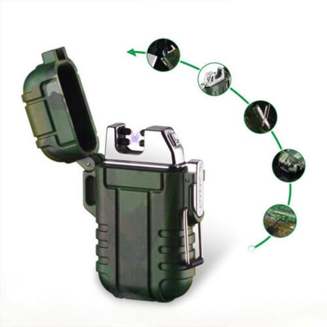 Usb зарядка Электронная зажигалка пожарный стартер водонепроницаемая и ветрозащитная наружная зажигалка для кемпинга многофункциональные ...