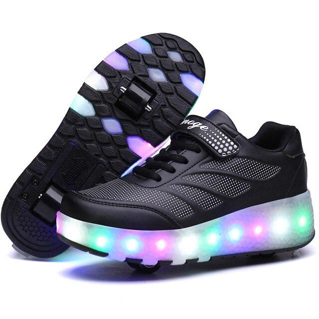 Новый Дети led Светящиеся Кроссовки обувь на колесиках Высокое Качество Популярные Мальчики Девочки Загораются Суперзвезда Ролик Обувь