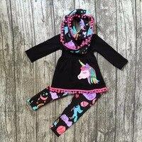 Nova Outono/inverno 3 peças cachecol bebê meninas crianças outfits unicórnio do arco íris imprimir pant pom pom venda quente boutique conjuntos de roupas