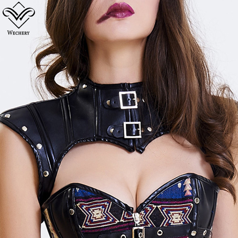 Wechery Steampunk Accessories Women Leather   Corset   Crop Tops Punk Gothic Style Retro Custom Plus Size S-2XL Black Brown