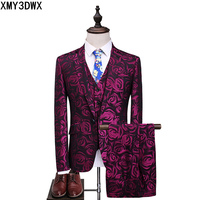 Purple Rose Three Piece Suit male 2017 Floral Slim Fit Casual Stage Wedding Suits for Men Plus Size S-5XL Terno Masculino Tuxedo