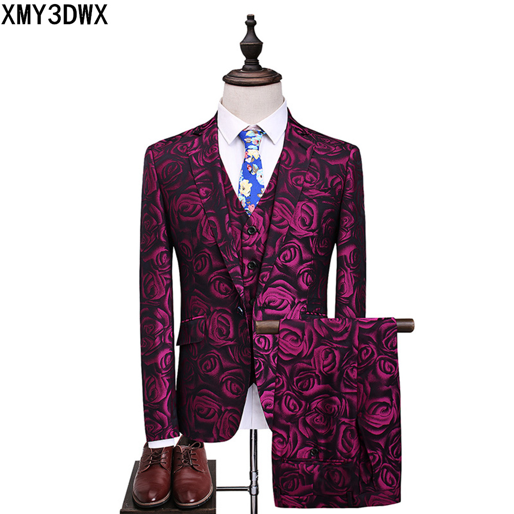 Violet Rose Trois Pièces Costume masculin 2017 Floral Slim Fit Casual stade De Mariage Costumes pour Hommes Plus La Taille S-5XL Terno Masculino Smoking