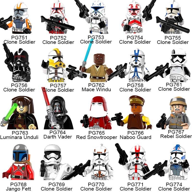 20pcs/lot Clone Soldiers Star Wars Red Stormtrooper Darth Vader Jango Fett Windu Building Blocks Toys for Children star wars figures jedi chewbacca han solo darth vader leia legoing jango fett obi wan models & building toys blocks for children