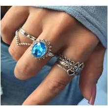 6 Pcs / Set Alloy Lettering Heart Shape Rings Jewelry Silver-color Vintage Retro Blue CZ Crown Ring Bands for Women(China)