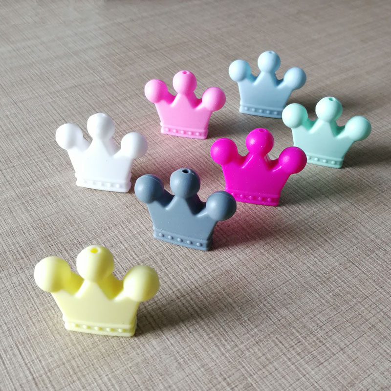 1pc Crown Silicone Beads Baby Teething Toys Food Grade Silicone DIY Pacifier Chain Pendant Accessories Baby Teethers
