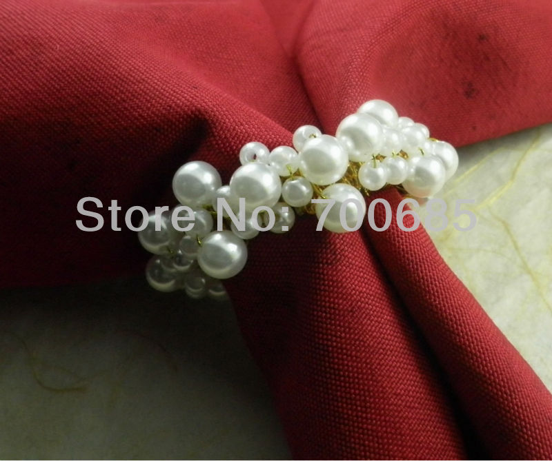 White Pearl Napkin Ring Beaded Wedding  Napkin Ring Cheap Napkin Ring, Whole Sake Napkin Ring