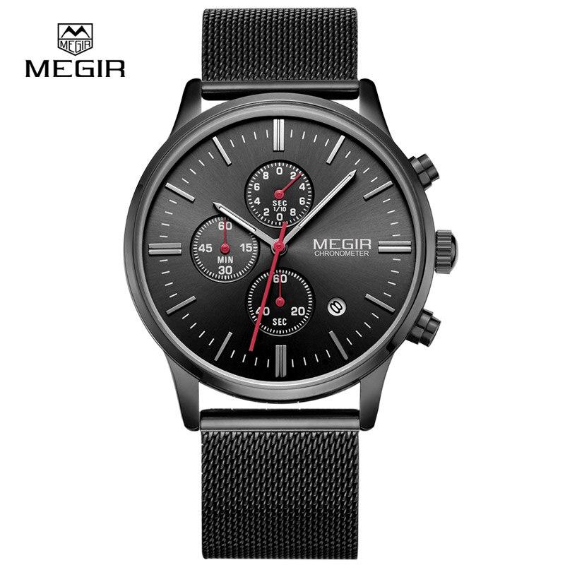 MEGIR relogio masculino men's quartz watches fashion waterproof mesh band watch for man luminous hour male dress 2011