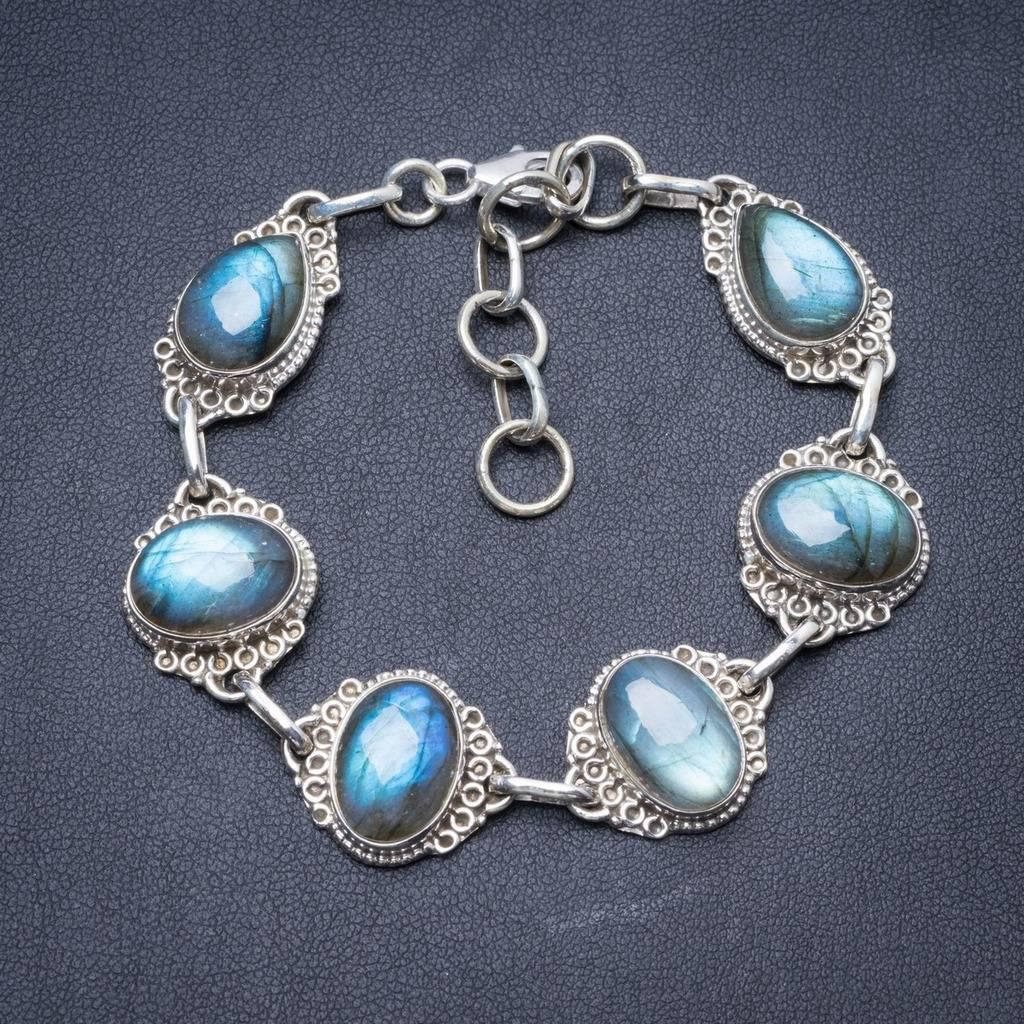Natural Labradorite Handmade Unique 925 Sterling Silver Bracelet 7 1/2-9 Y2820 natural labradorite handmade unique 925 sterling silver bracelet 7 1 2 8 1 2 y2898