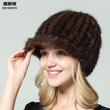 Male and female mink knitted peaked cap in autumn winter warm fashion style hat thickening A with a brim