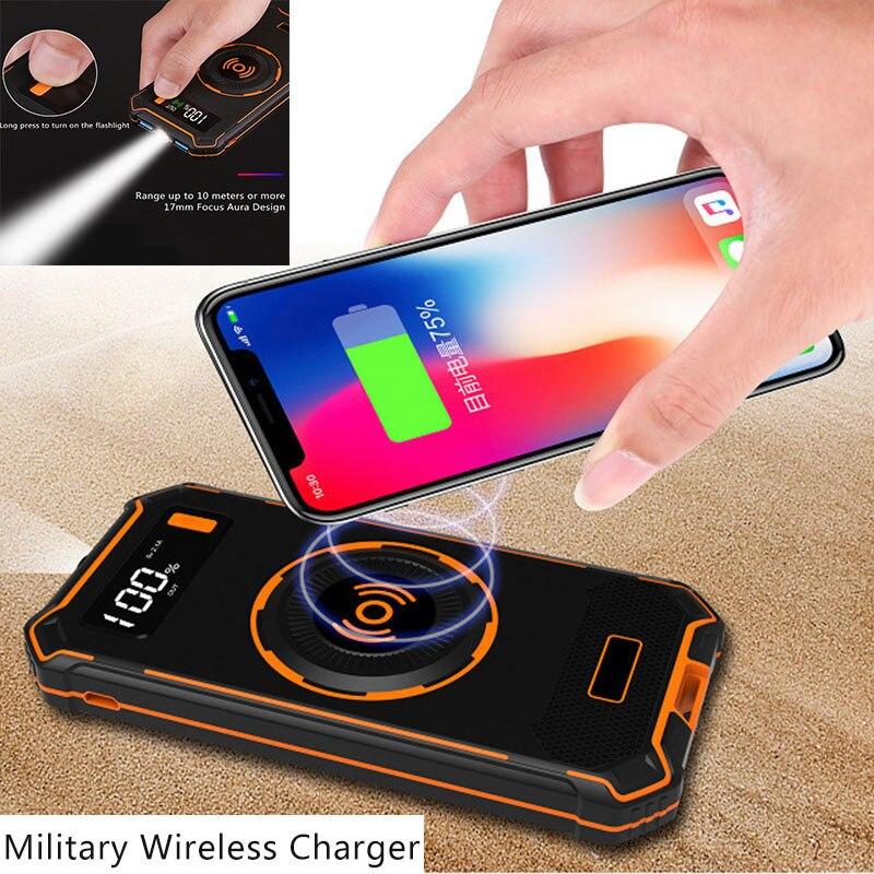 Qi chargeur sans fil pour iPhone x xs max Samsung S7/8/9 Type c micro Ports USB DC 5 V/2.1A 10000 mAh batterie externe batterie externe