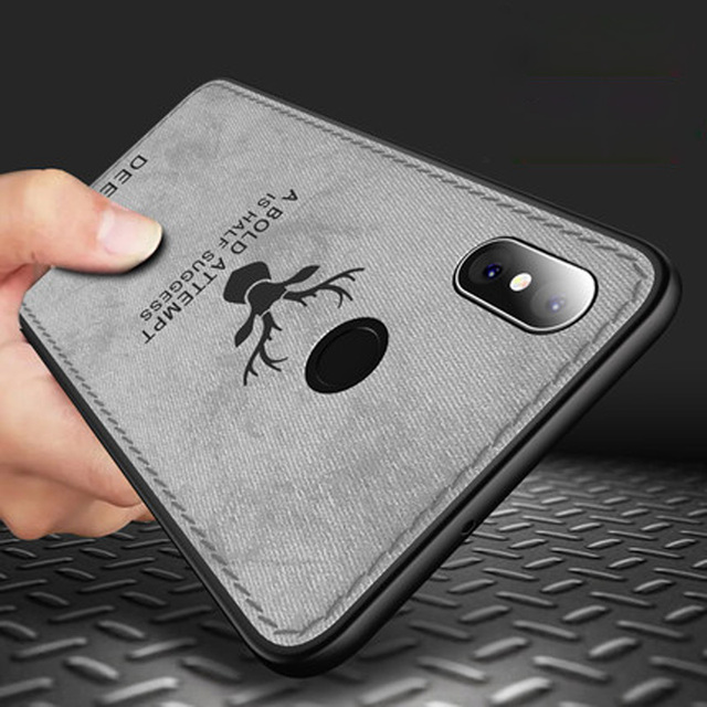 XiaoMi Mi Max 3 case cover Max3 back cover silicone edge deer pattern fabric shockproof case for XiaoMi Mi Max 3 coque capa case