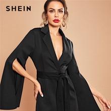 SHEIN Black Casual Flounce Sleeve Notched Collar Flounce Sleeve Mini Dress  Casual Elegant Autumn Modern Lady Women Dresses 43c6fbe678e2