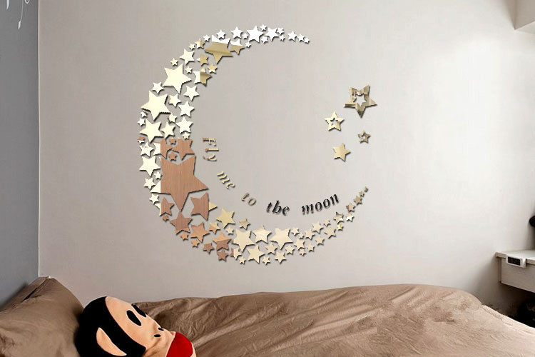 Fly to the moon 3D acrylic mirror stars wall stickers for ...