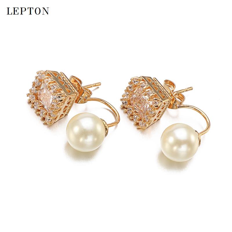 Boucles d'oreilles Zircon carré clair de haute qualité boucles d'oreilles or et platine couleur globulaire perle boucles d'oreilles boucles d'oreilles pour femmes bijoux