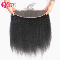 Dreaming queen hair pre plucked kinky straight lace frontal closure 13x4 brazilian remy human hair frontal.jpg 250x250