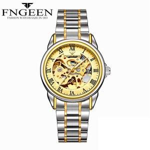 Image 5 - Paar Uhren Top Marke Stahl Mechanische Armbanduhr für Männer und Frauen Orologio Uomo Tourbillon Skeleton Relogio Feminino Saats