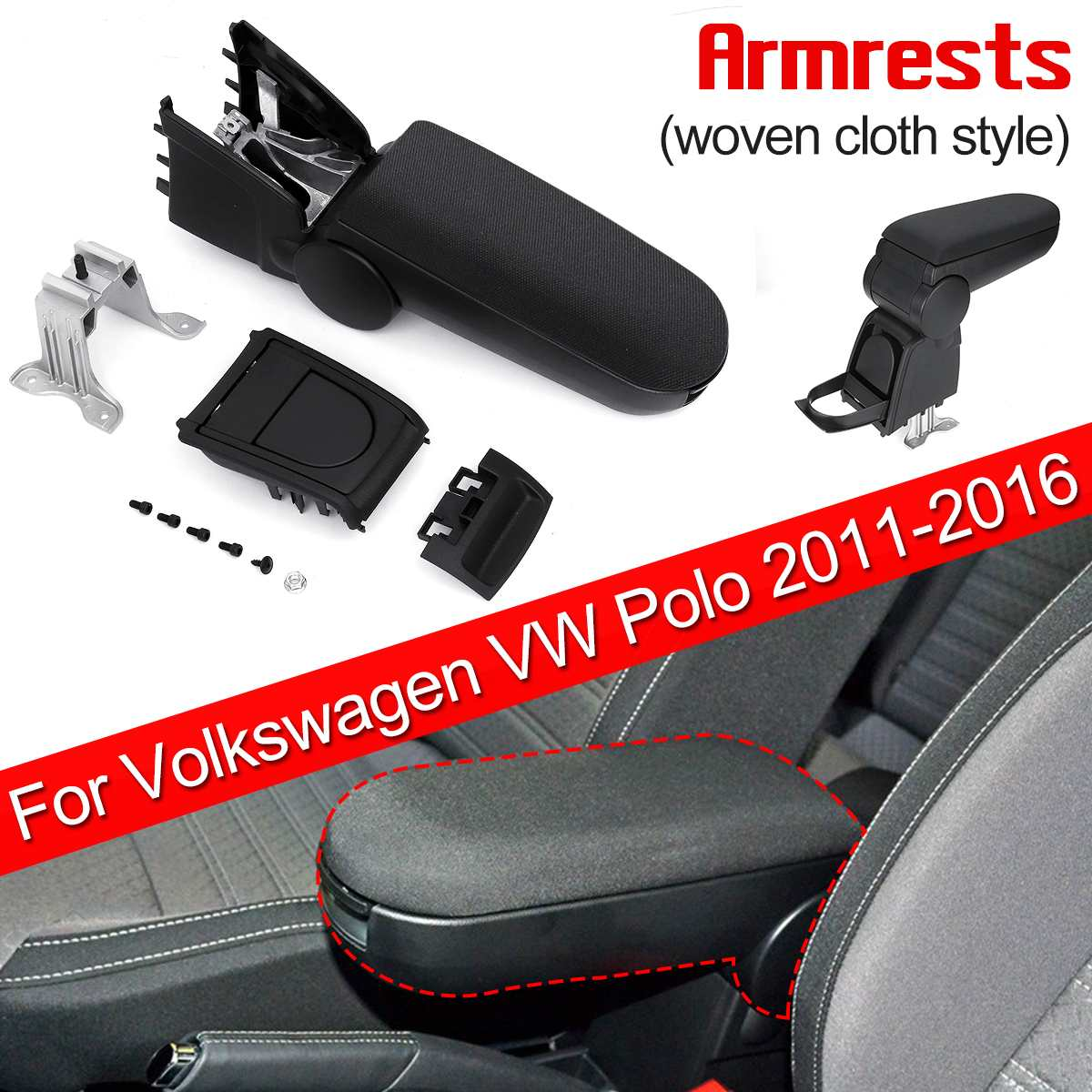 Armrests Box With Cup Holders Woven Fabric Armrests Storage Case Console For Volkswagen For VW Polo 2011 - 2016Armrests Box With Cup Holders Woven Fabric Armrests Storage Case Console For Volkswagen For VW Polo 2011 - 2016