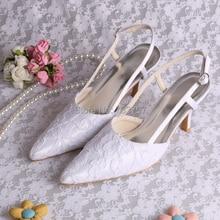 Wedopus Новый Дизайн Свадебная Обувь Свадебные Белые Кружева Острым Носом Высокие Каблуки Для Свадьбы