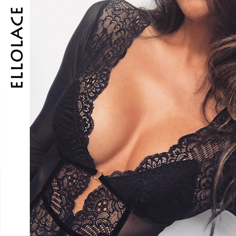 Ellolace Deep V Black Mesh Bodysuit Women Lace Long Sleeve Body Rompers Sexy Bodycon Summer Overalls Transparent Female   Jumpsuit