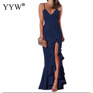 Image 5 - 섹시한 V 넥 프릴 여성 이브닝 드레스 2020 여름 스파게티 스트랩 긴 파티 드레스 사이드 슬릿 불규칙한 우아한 공식 드레스