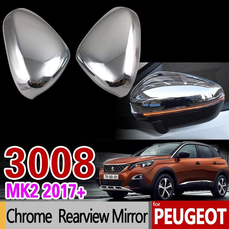Luxurious Chrome Rear view Mirror Cover for Peugeot 3008 II 2017 2018 2019 MK2 3008GT GT Carbon Fiber Accessories Car Styling брызговики передние и задние кроме gt для peugeot 3008 2017
