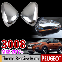 Luxurious Chrome Rear view Mirror Cover for Peugeot 3008 II 2017 2018 2019 MK2 3008GT GT Carbon Fiber Accessories Car Styling