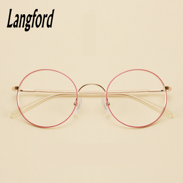23f5b4b040 thin round glasses frames for women vintage round Transparent eyeglass  spectacle big glasses gold pink 1535