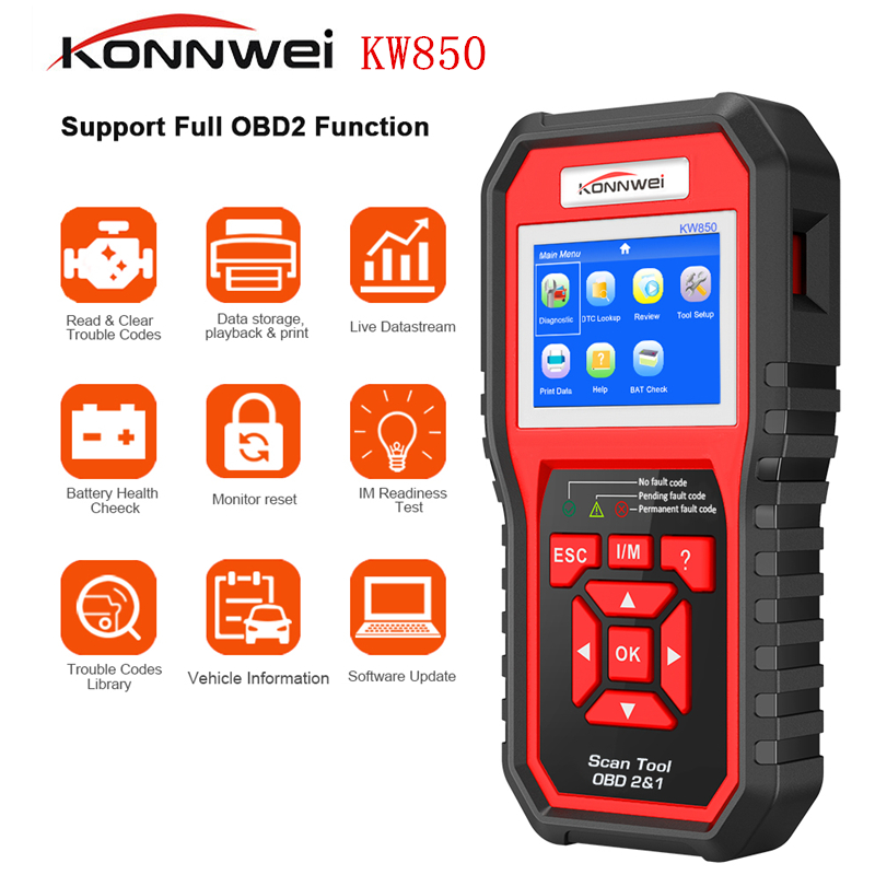 KONNWEI KW850 OBD2 ODBII Car Diagnostic Scanner Multifunction Auto Diagnostic Car Scanner Universal OBD Engine Code Reader-in Code Readers & Scan Tools from Automobiles & Motorcycles