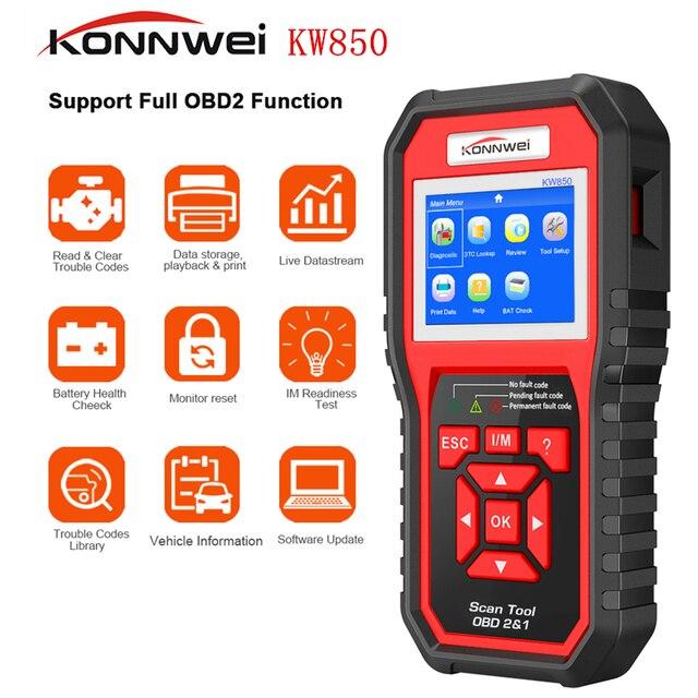 KONNWEI KW850 OBD2 ODBII سيارة ماسح ضوئي تشخيصي متعدد الوظائف السيارات التشخيص ماسح الرادار الخاص بالسيارة العالمي OBD محرك رمز القارئ