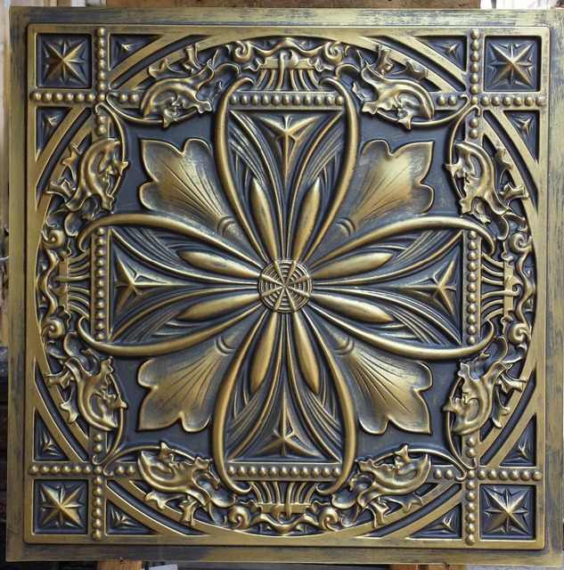 PL10 faux finishes ceiling tiles ancient gold color 3D embossed cafe ...