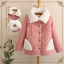 Winter New Japanese Quilted Jacket with Padded Collar Lamb Wool Cashmere Thickened Short Coat Jacket Female