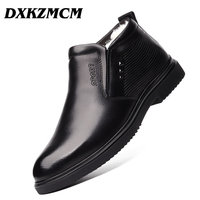 DXKZMCM Handmade Men Genuine Leather Winter Boots Warm Snow Men Boots Ankle Boots For Men Business Dress Shoes Men