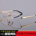 Alta-grau puro luxo titanium negócios metade óculos de quadros de largura grande homem rosto armacao de oculos miopia óptico óculos de leitura tg6601