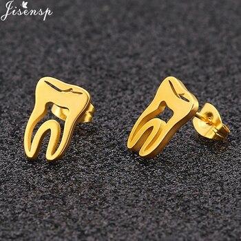 Jisensp Trendy Earings 2018 Stainless Steel Gold Hollow Teeth Earrings Minimalism Love Dental Ear Studs Men Woman Jewelry Gifts 1