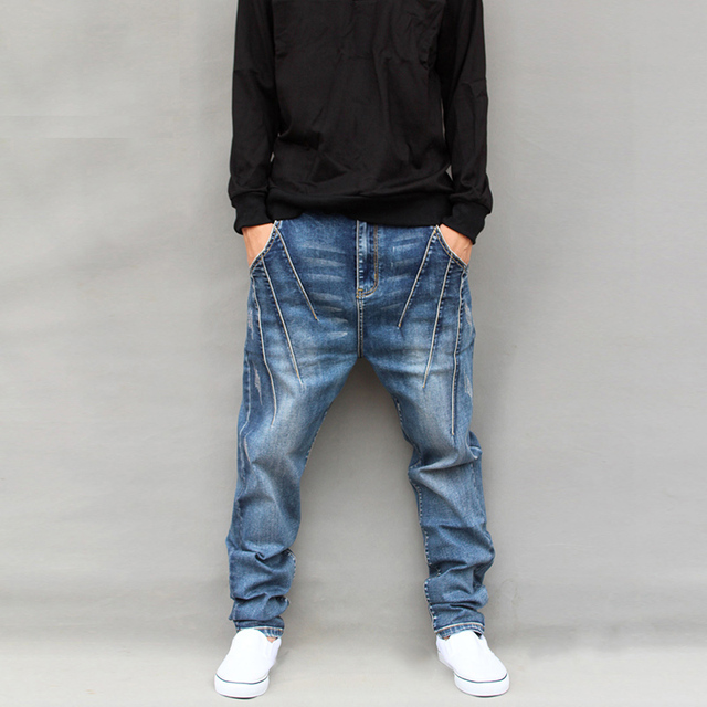 f7061e7c0a7 Unique Design Plaid Harem Pants Men Big Personality Low-Rise Pants Spring  Autumn Male Skinny Jeans Plus Size Trousers 5XL Blue