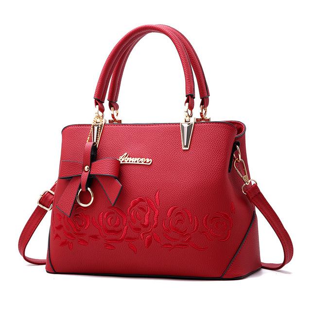 Women Handbag Uu Leather Shoulder Printing Flowers Crossbody Bag